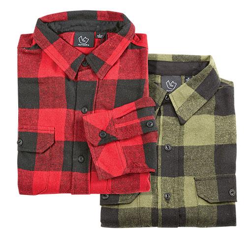 Burnside Brawny Men's Flannel Shirts - 2 Pack