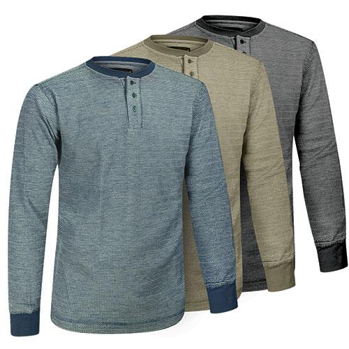 Fourcast Men's Thermal Henley Shirt - 3 Pack