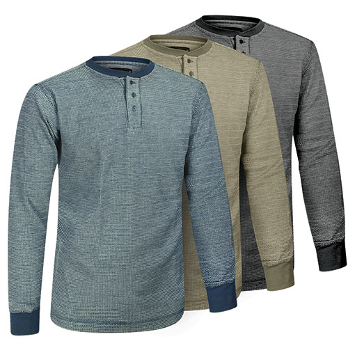 Fourcast Men's Thermal Henley Shirt - 3 Pack