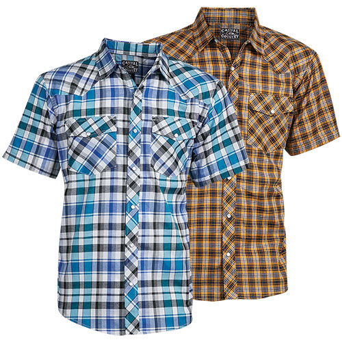 Casual Country Men's Blue/Gold Plaid Shirts - 2 Pack