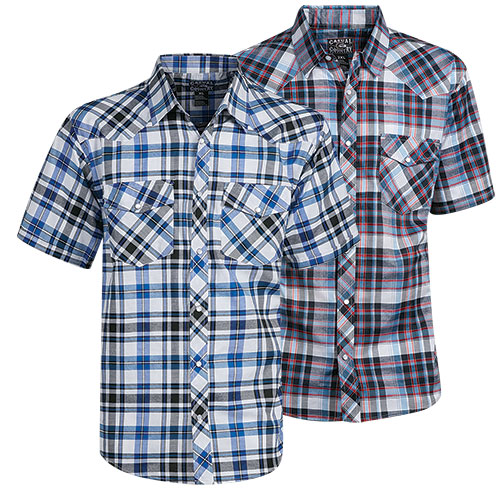 Casual Country Men's Navy/Black Plaid Shirts - 2 Pack