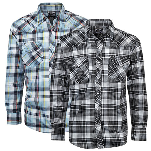 Casual Country Men's Western Shirts - Blue/Black