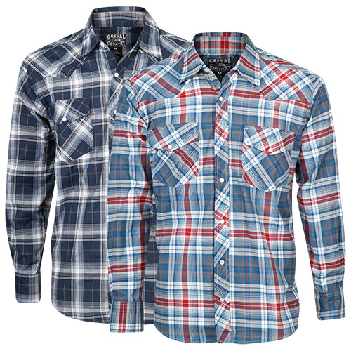 Casual Country Men's Western Shirts - Navy/Red