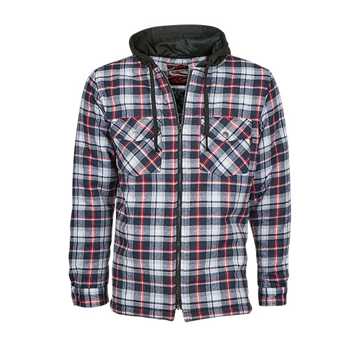 Men's Quilt Lined Hooded Flannel - Red