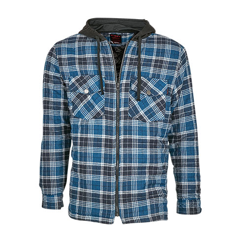 Men's Quilt Lined Hooded Flannel - Blue