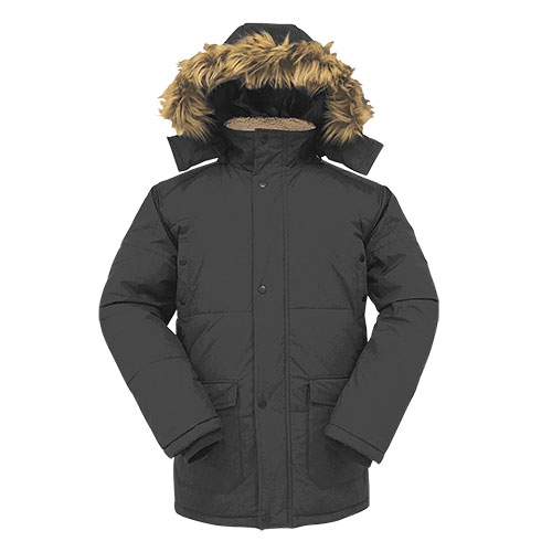 Truppa Men's Faux Fur Hooded Parka - Black