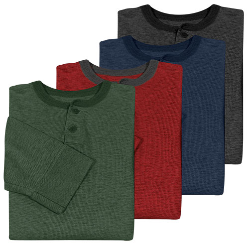 Fourcast Men's Thermal Henley Shirt - 4 Pack