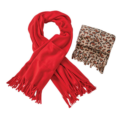 Women's Leopard/Red Fleece Wrap - 2 Pack