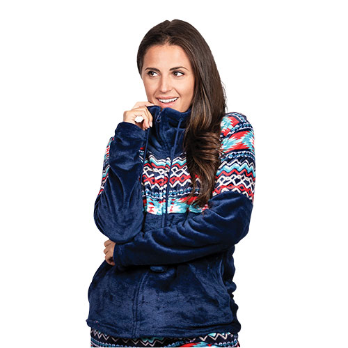 Trailcrest Women's Aztec Fleece Jacket - Navy