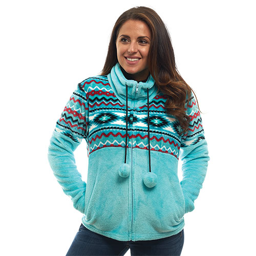 Trailcrest Women's Aztec Fleece Jacket - Turquoise