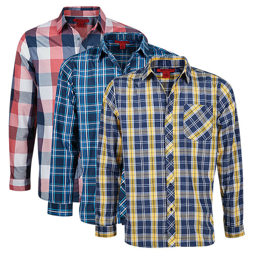 Montage Men's Plaid Shirt - 3 Pack