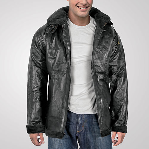 King Size Big/Tall Men's Patch Leather Jacket