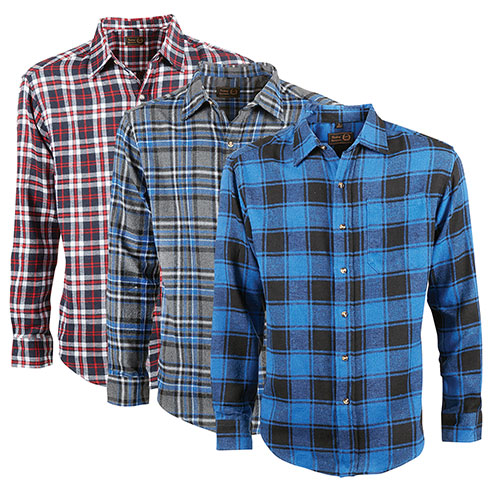 Victory Sportswear Men's Flannel Shirts - 3 Pack