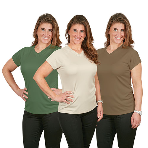 Champion Women's Double Dry V-Neck Shirts - 3 Pack