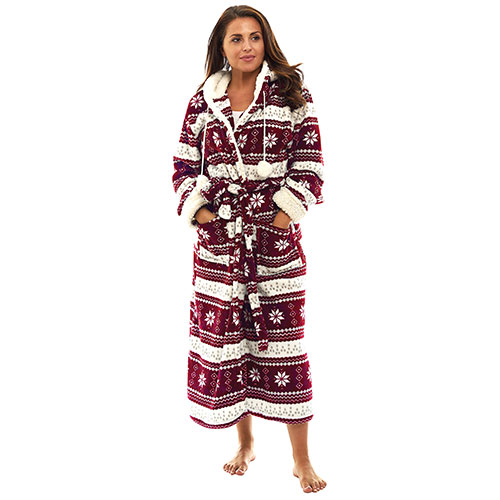 Trailcrest Burgundy Women's Fleece Hooded Robe