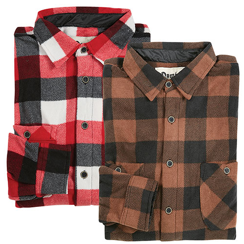 Domini Men's Micro Fleece Plaid Shirts - 2 Pack
