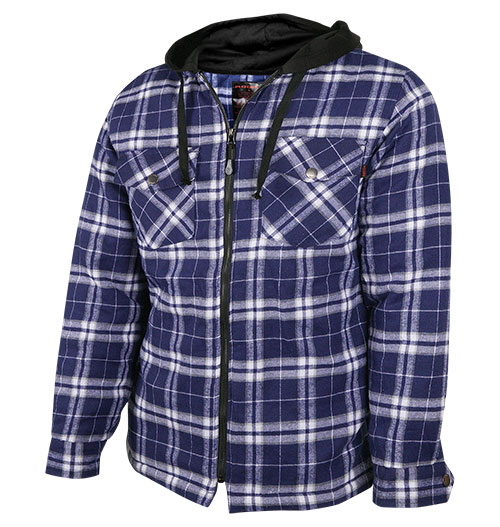 Casual Country Men's Quilted Blue Flannel with Hood
