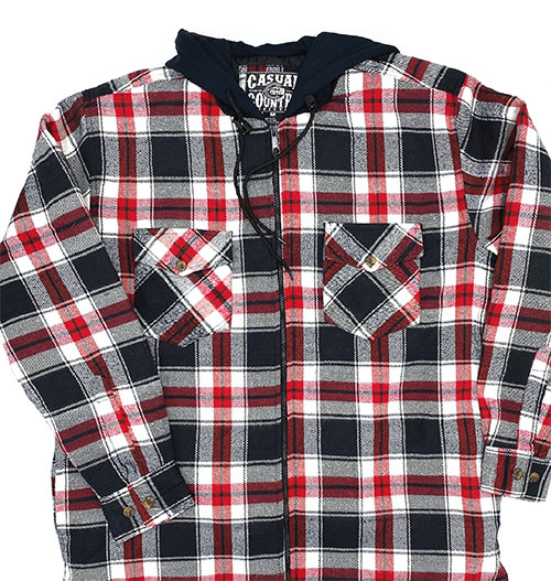 Casual Country Men's Quilted Black Flannel with Hood