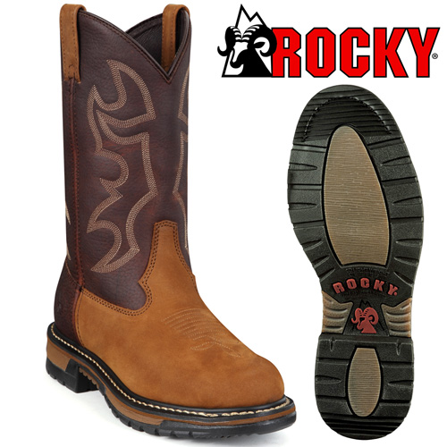 Rocky Branson Round Toe Roper Boots