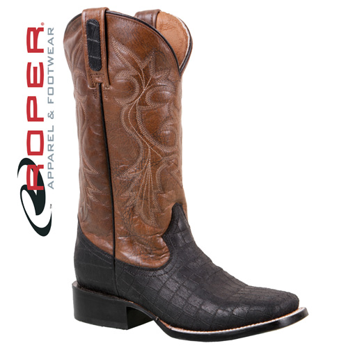 Roper Caiman Print Boots - Distressed