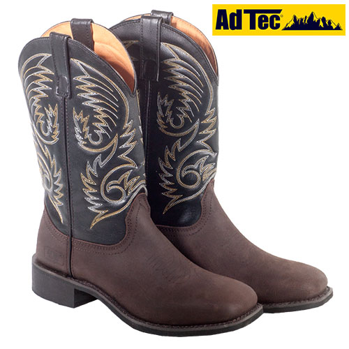 Ad Tec Mens Dark Brown Western Boots