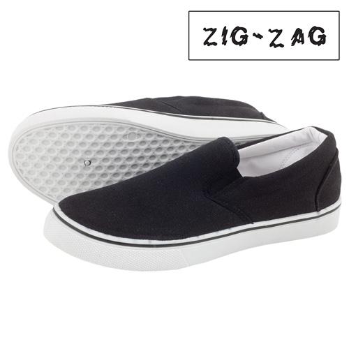Zig-Zag Canvas Slip-Ons - Black