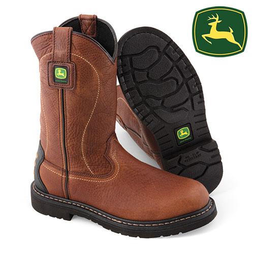 John Deer Mens Brown Pull-On Boots