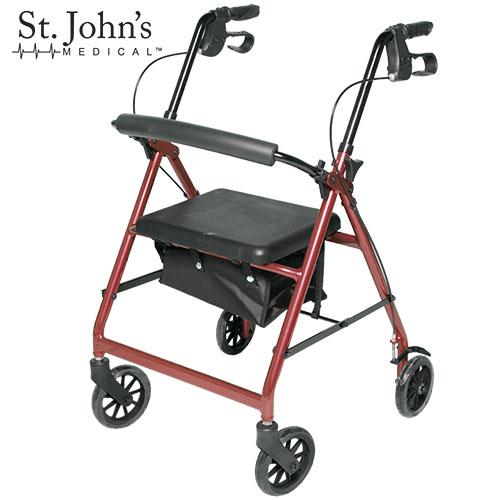 St John's Medical Premium Rolling Walker - Burgundy