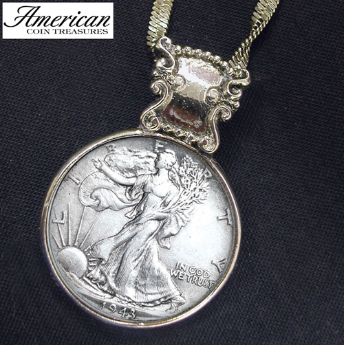 Silver Walking Liberty Half Dollar in Silvertone Bezel