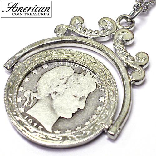 Silver Barber Quarter Spinner Pendant