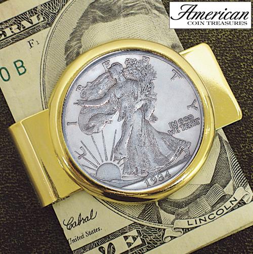 Half Dollar Goldtone Money Clip