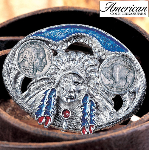 Buffalo Nickel Enamel Belt Buckle