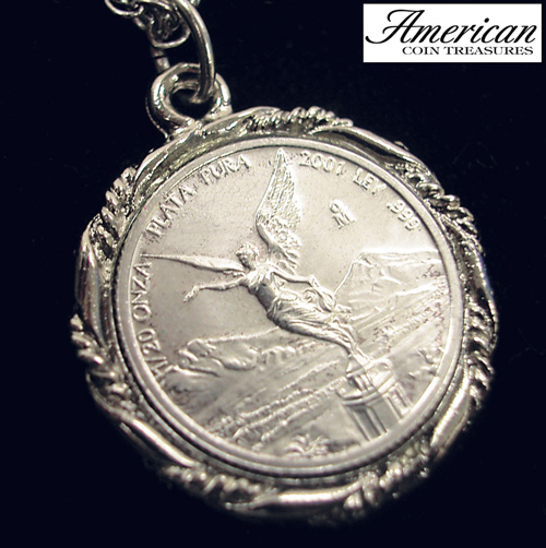 Silver Mexican Libertad Angel Pendant