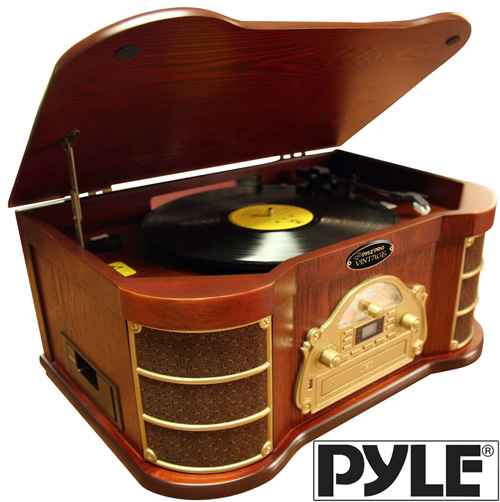 Nostalgia Stereo with Turntable/USB Record/iPod® Connectivity