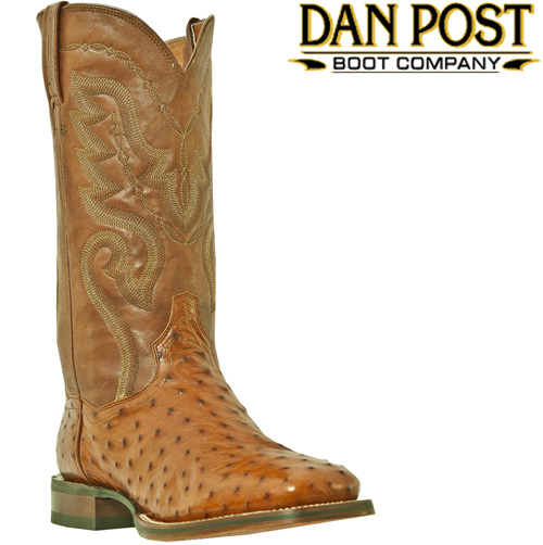 Dan Post Cognac Full Quill Ostrich Boots with Square Toe