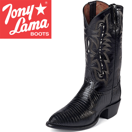 Tony Lama Black Teju Lizard Boots
