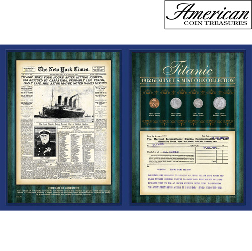 New York Times 1912 Coin Collection with Marconi Telegram