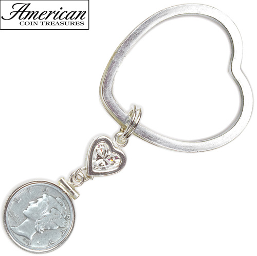Sterling Silver Mercury Dime Coin Heart Keychain Coin Jewelry