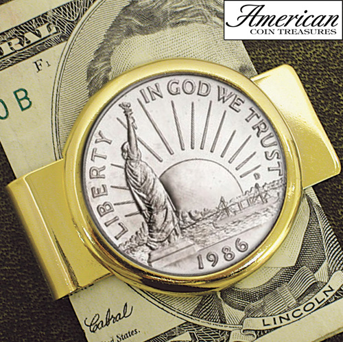 1986 Statue of Liberty Commemorative Half Dollar Coin in Goldtone Money Clip
