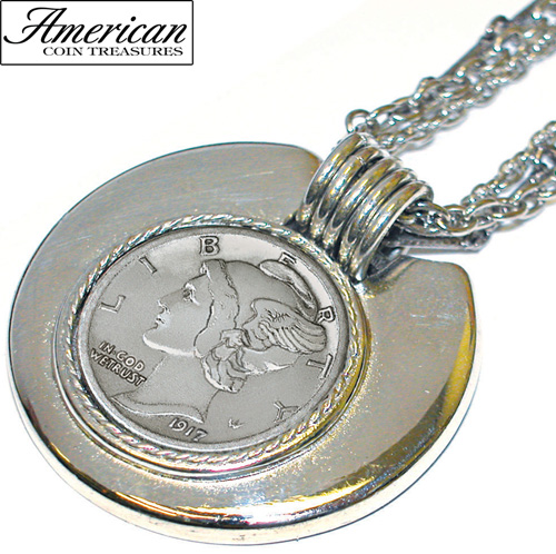 Mercury Dime Silvertone Triple Chain Pendant