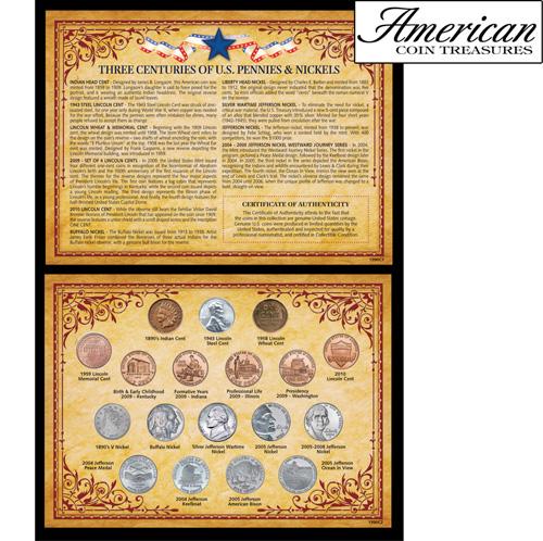 Three Centuries of U.S. Pennies & Nickels