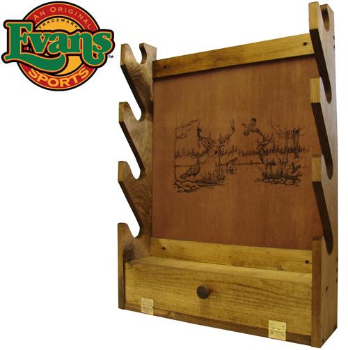 Wooden 4-Gun Rack with Storage Compartment
