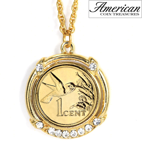 Gold -Layered Hummingbird Coin Pendant