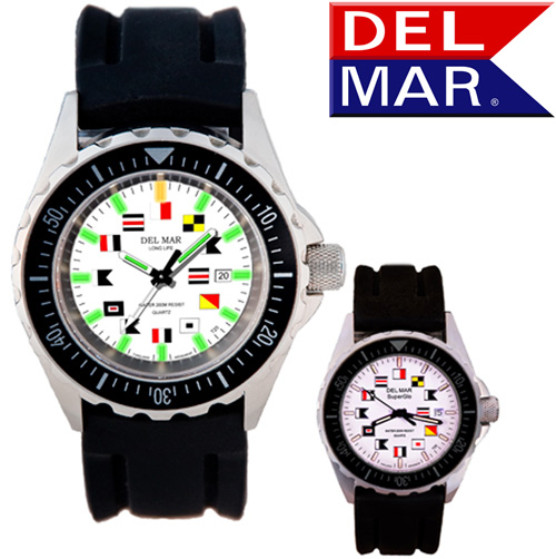 Men's 200M SuperGlo Nautical Dial Rubber Band