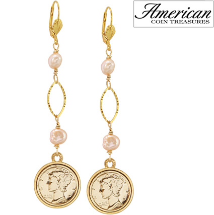 Gold Layered Silver Mercury Dime Pearl Earrings