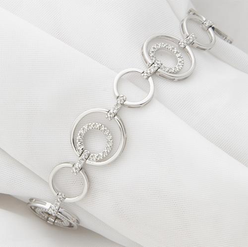 Sterling Silver and Diamond Bracelet