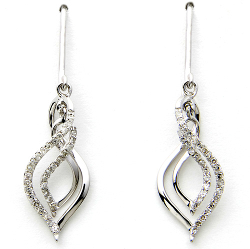 White Gold Diamond Dangle Earrings