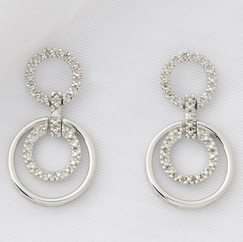 Sterling Silver and Diamond Geometric Earrings