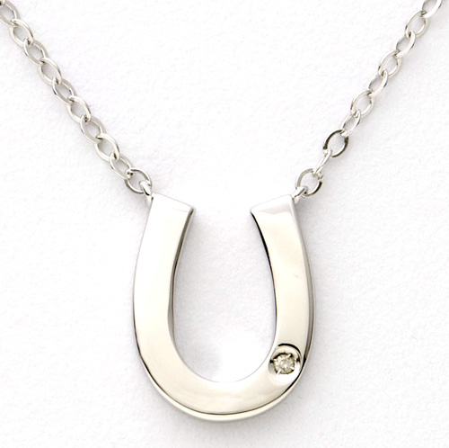 Sterling Silver and Diamond Horseshoe Necklace