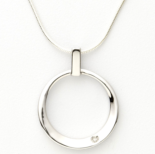 Sterling Silver and Diamond Contemp Necklace
